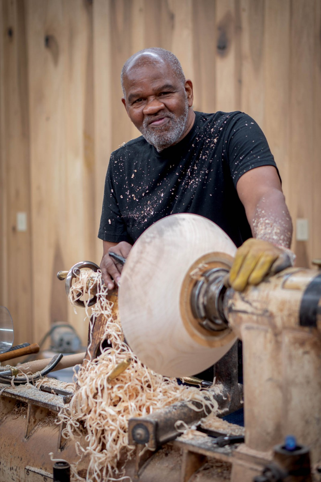 Nathan Favors with lathe