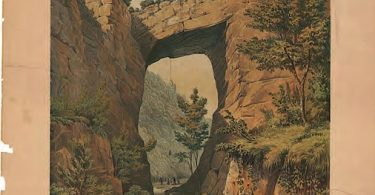 The Natural Bridge, Rockbridge County, VA. Sketch by Thomas H. Williamson