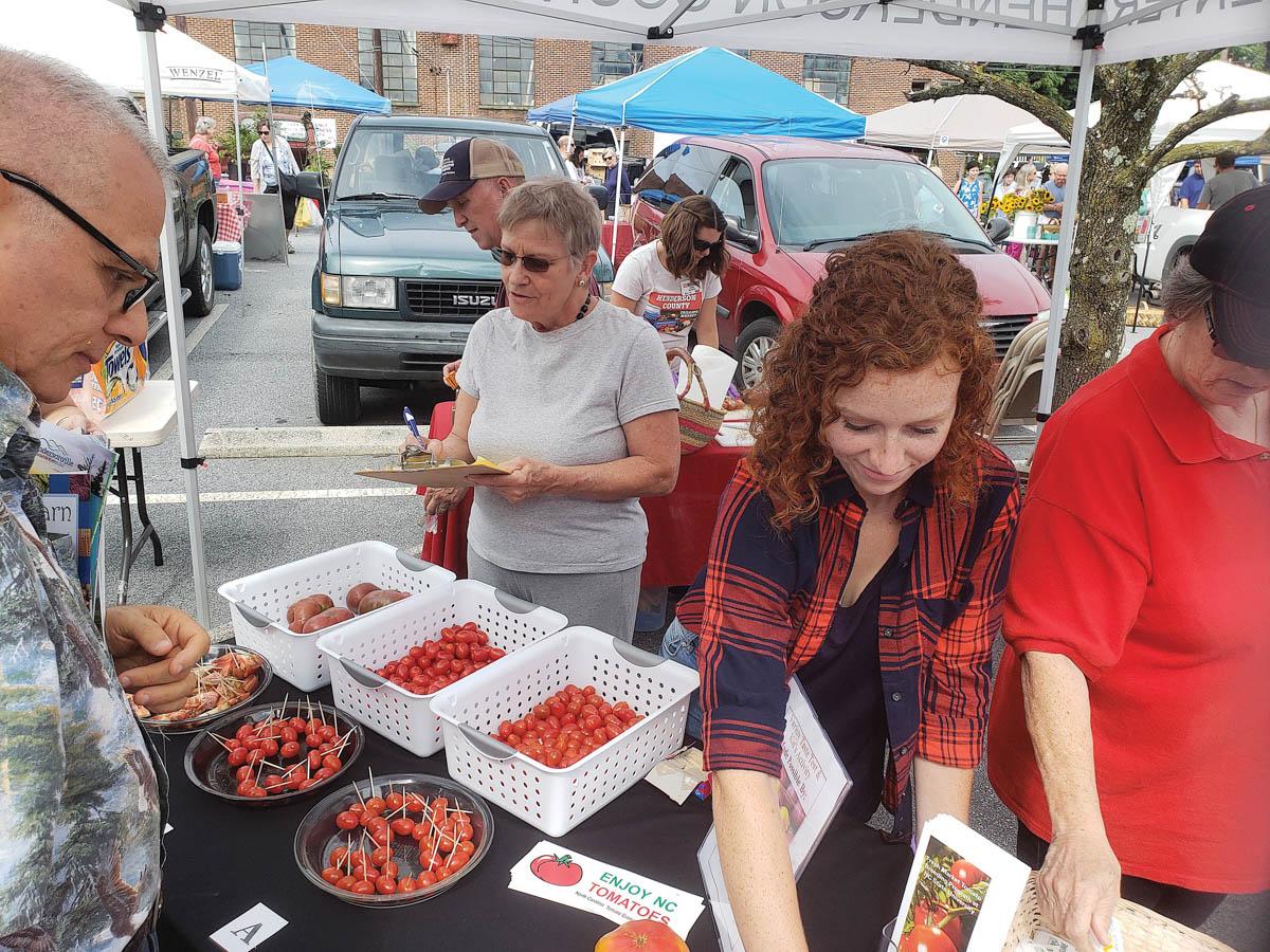 tomato festival tasting booth