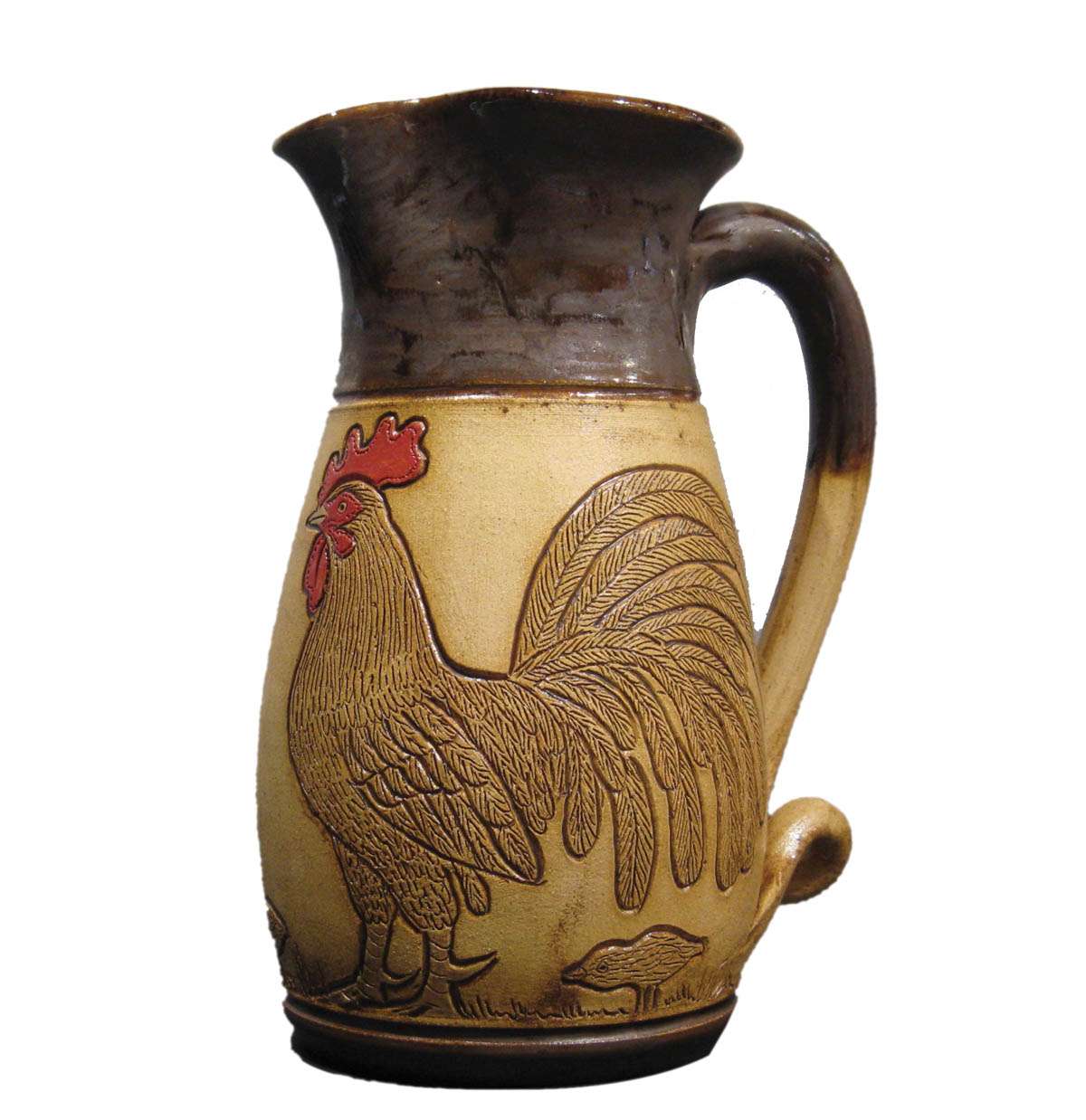 Rooster Pitcher with curvy handle. Rosa and Winton Eugene, artists