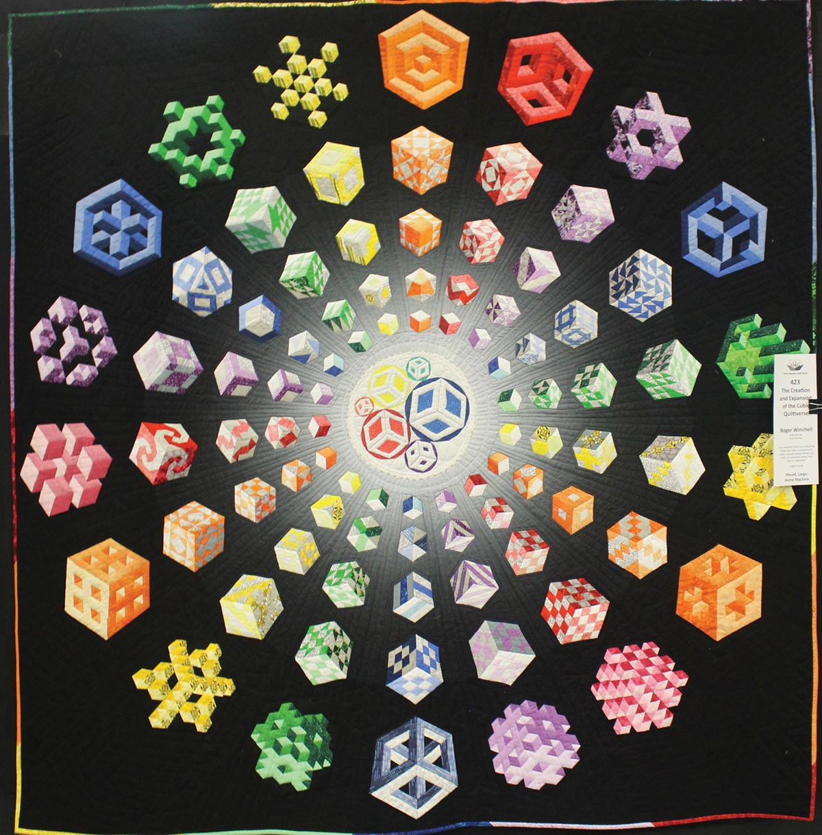 The Creation and Expansion of the Cubic Quiltiverse, 2018 winner of Viewers' Choice prize. Roger Winchell, artist
