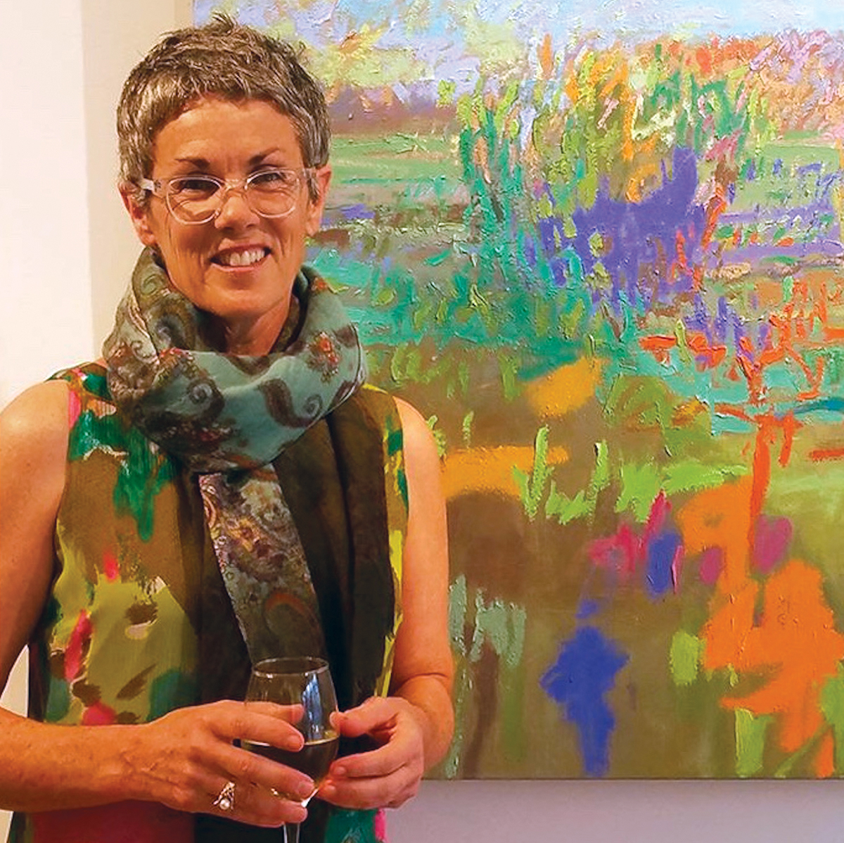 Jane Schmidt with painting