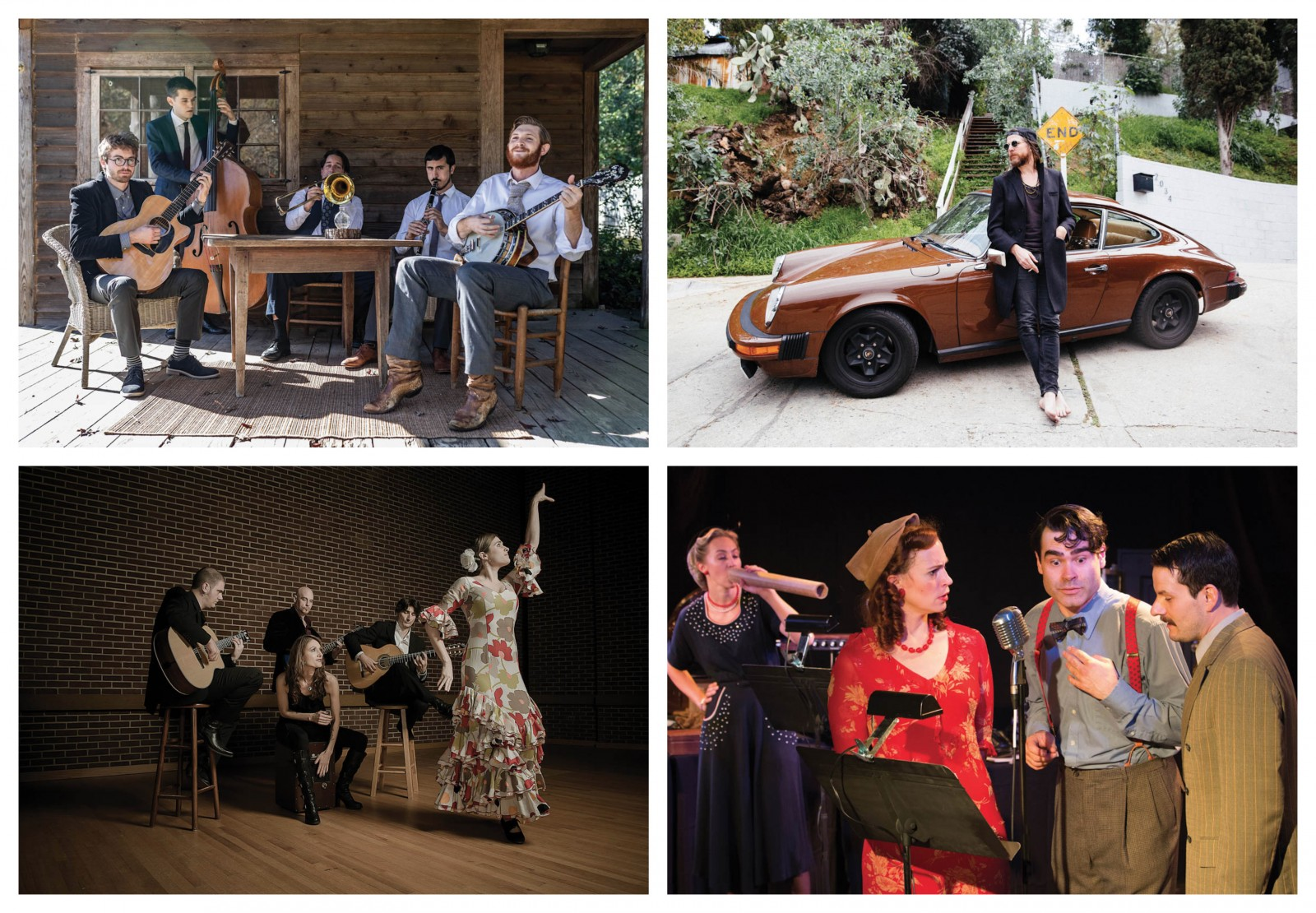 (Clockwise from top left) Ellis Dyson & The Shambles; Jonathan Wilson. Photo by Shelby Duncan; Van Tassel Party. The Headless Hessian of Sleepy Hollow. Immediate Theatre Project; Flamenco Night. The Paco Band.