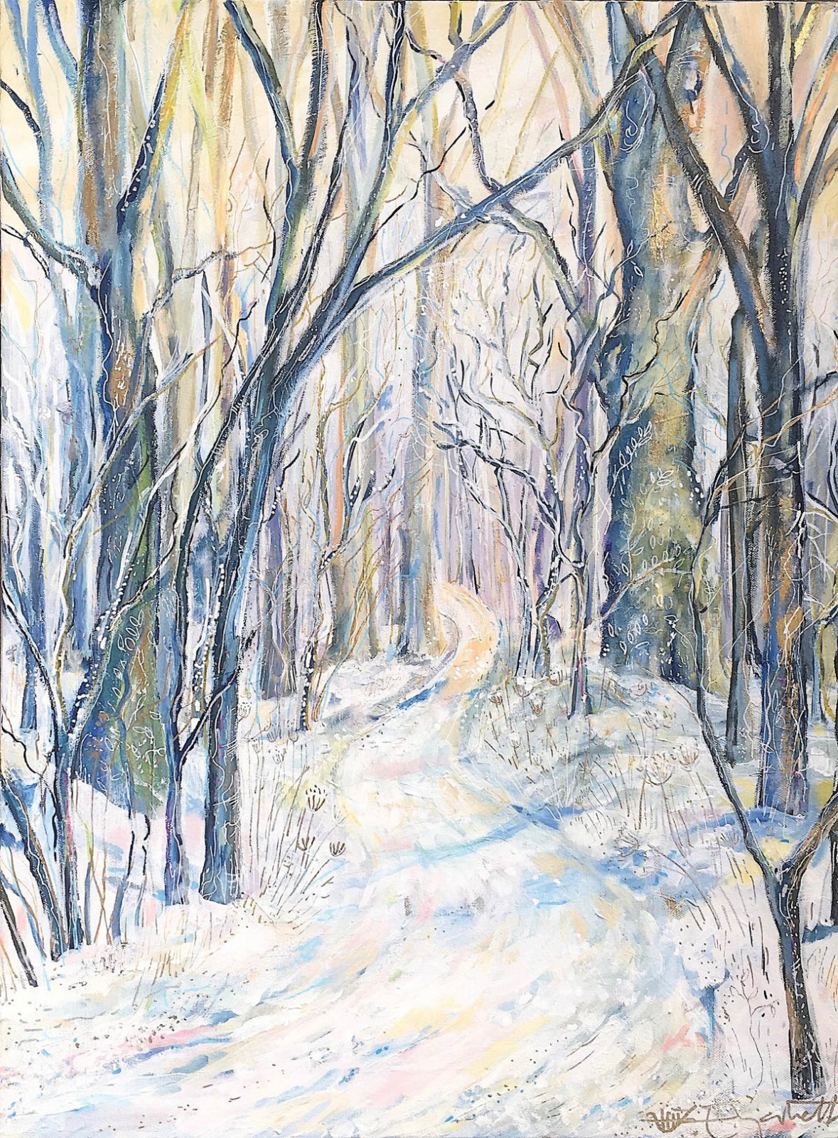 Snowy Biltmore Path in the Afternoon. Elizabeth Porritt Carrington
