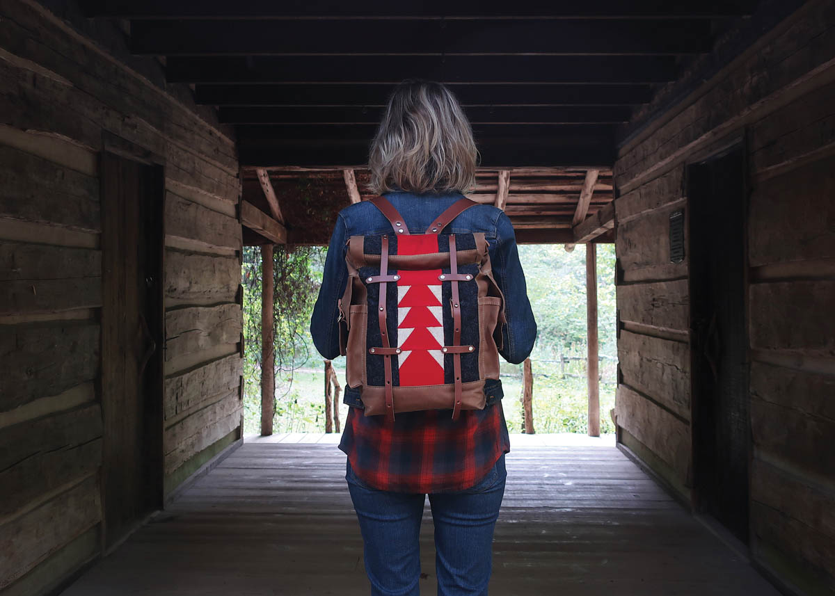 Classic patchwork backpack. Amber M. Jensen, artist. Photo courtesy of ha! Shop + Studio