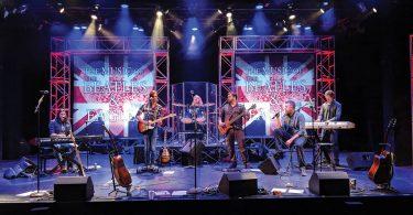 The Music of the Beatles and The Eagles. Dustin Brayley, Ryan Guerra, Aaron LaVigne, Jason Liles, Ryan Dunn, Paul Babelay. Photo courtesy of Flat Rock Playhouse